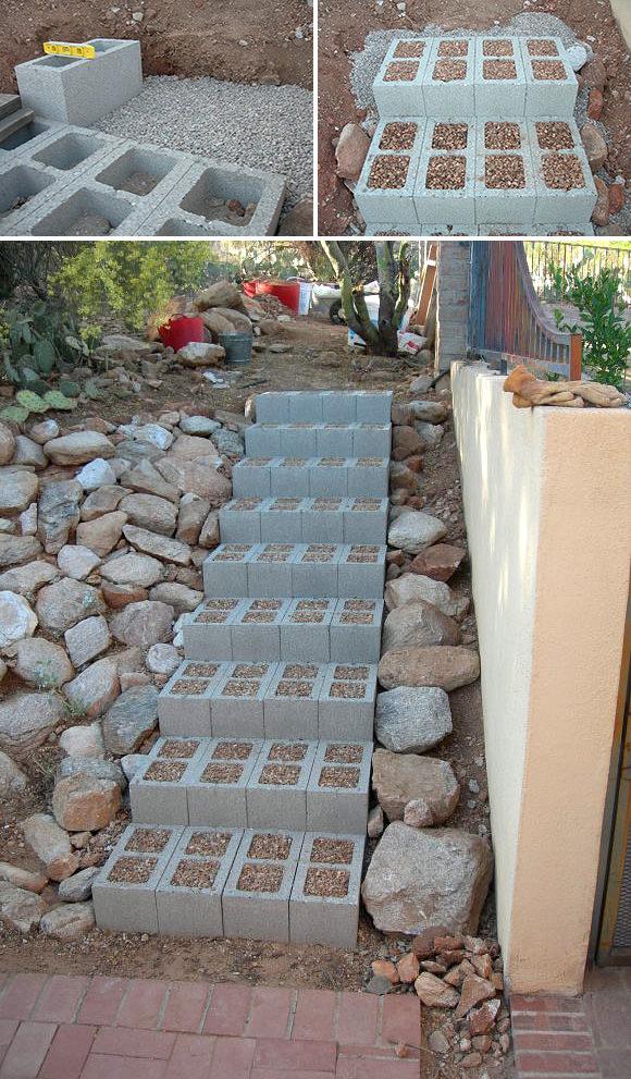 Использование бетонных блоков в интерьере. ТОП 22
