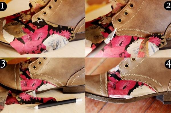 Декор обуви тканью