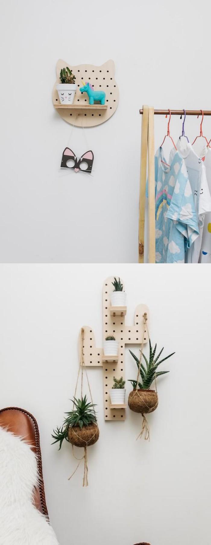 Перфорированный стеллаж из фанеры в интерьере