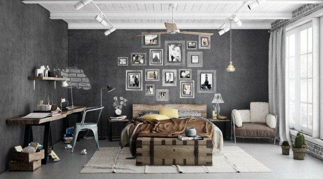 Спальни в индустриальном стиле. ТОП 10