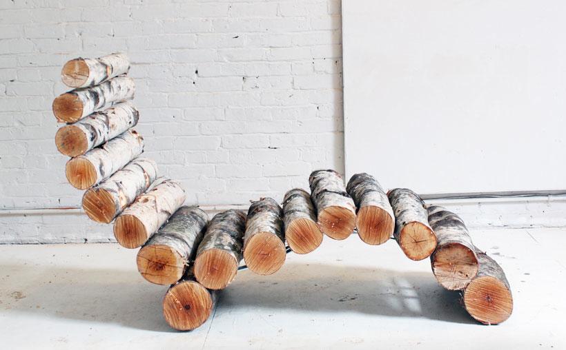 Как сделать лежак из березовых бревен