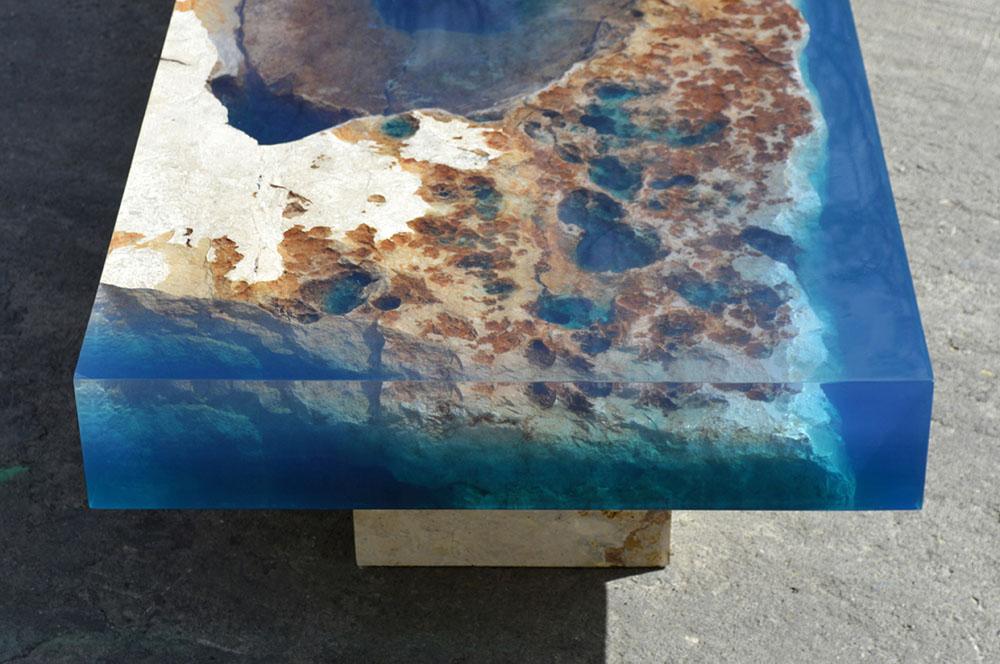 Ошеломительный стол, имитирующий океанский риф